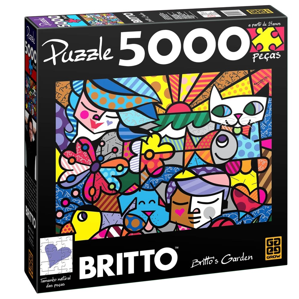 Puzzle 5000 Peças Romero Britto - Brito's Garden - Grow