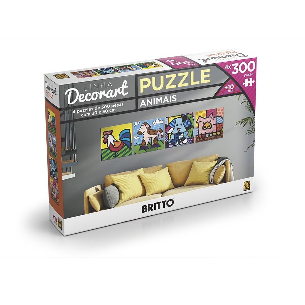 Puzzle 4 x 300 peças Decorart Romero Britto - Grow