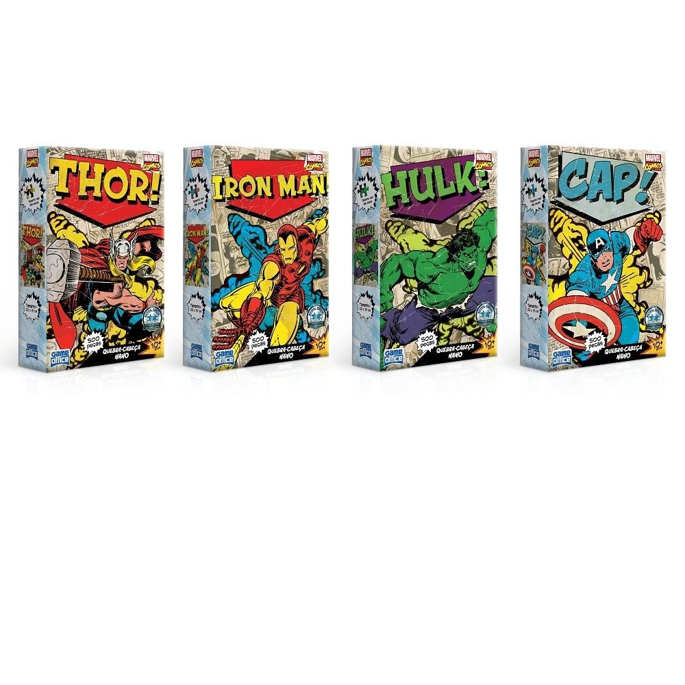 Kit 4 Quebra-Cabeças Nano 500 Pçs cada - Marvel Comics - Toyster