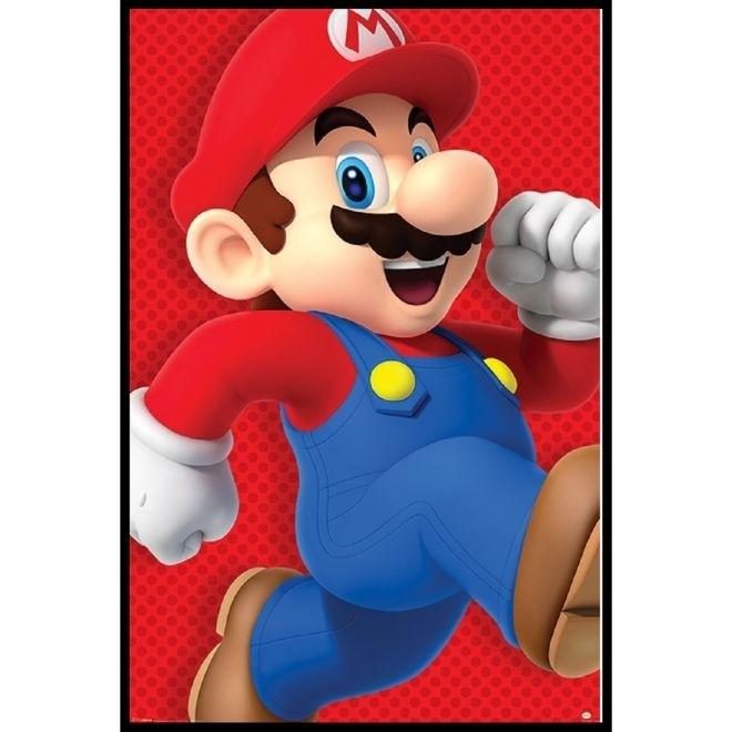 Poster Super Mario Run 95x65cm com Moldura - Wall Street Posters