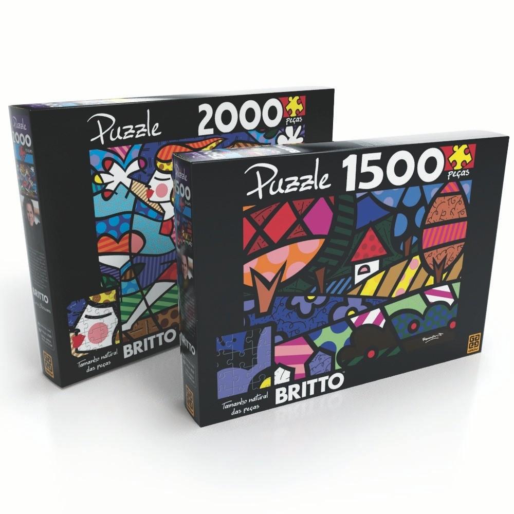 Combo Puzzle Romero Britto 1500 e 2000 Peças - Grow