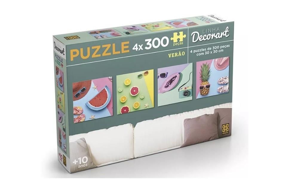Puzzle 4 x 300 peças Decorart Verão - Grow