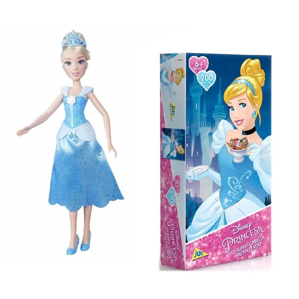 Kit Boneca + Quebra - Cabeça Princesa Disney -  Cinderela