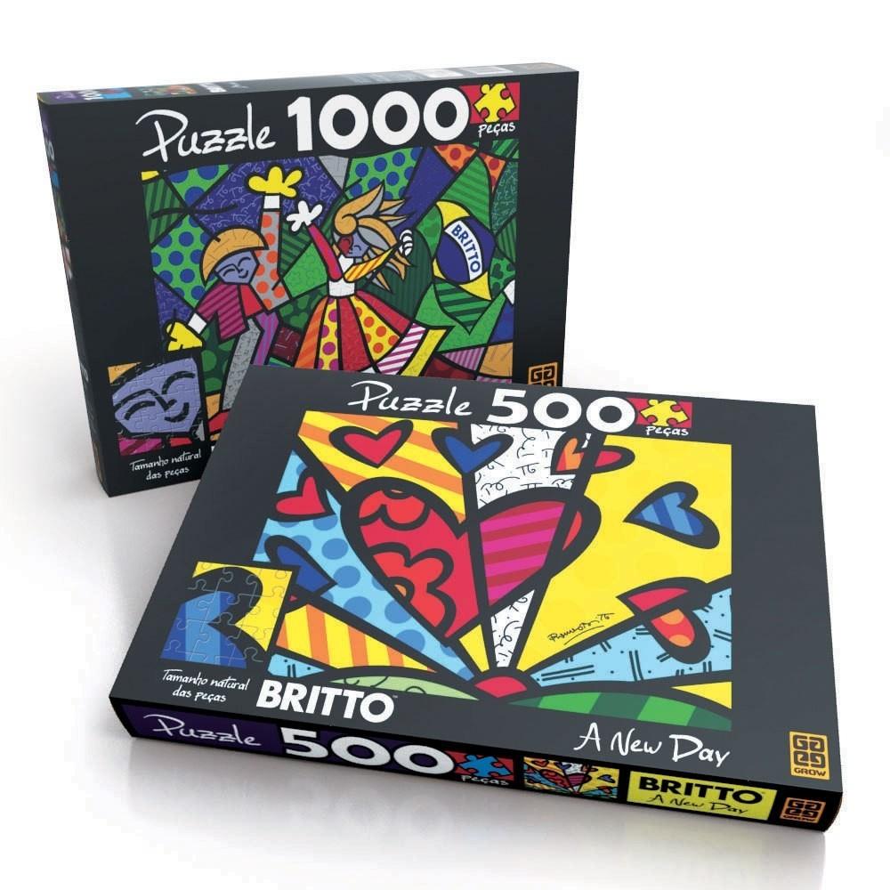 Combo  Puzzle Romero Britto - 500 e 1000 peças - Grow