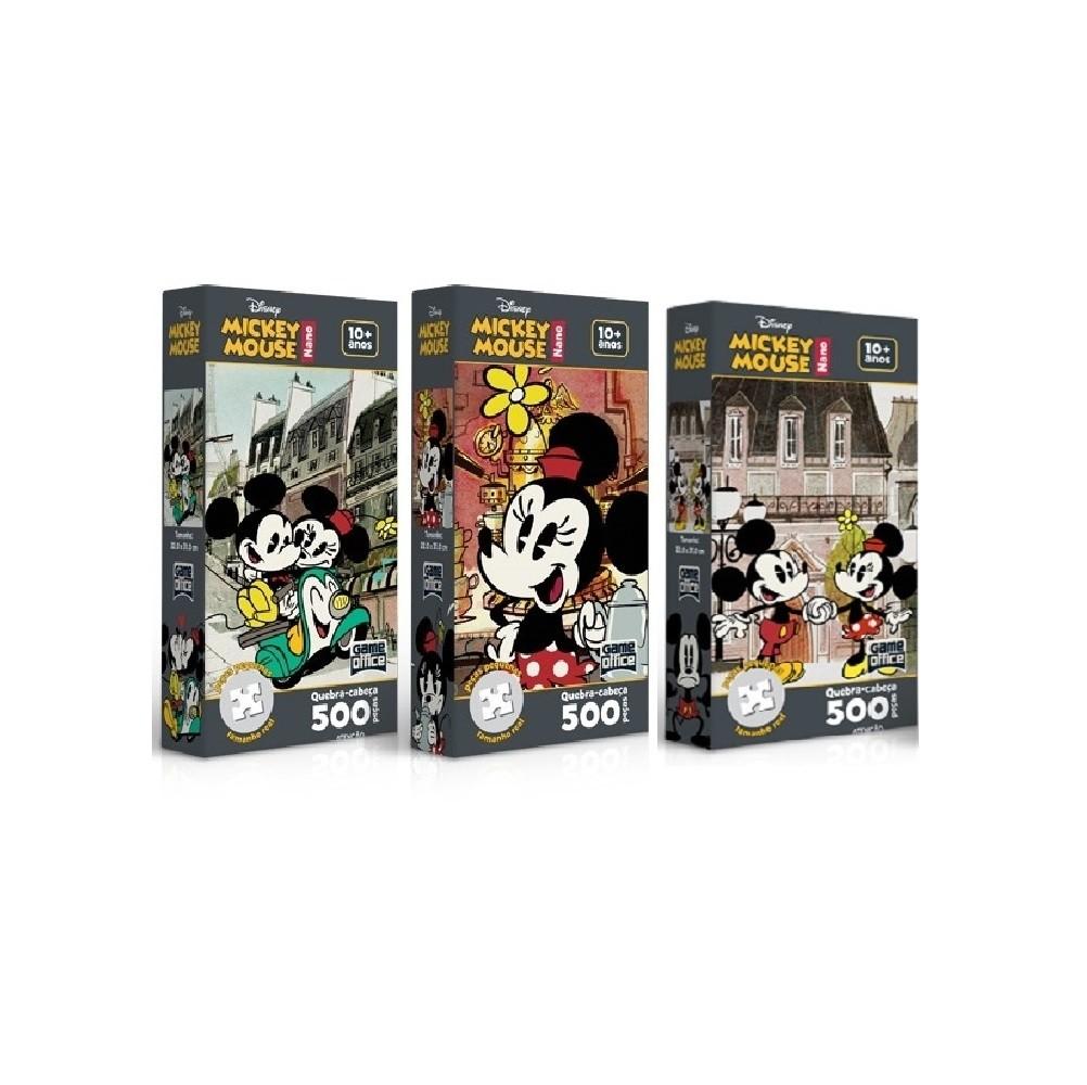 Kit 3 Quebra- Cabeça Nano 500 Peças -  Mickey Mouse  - Toyster