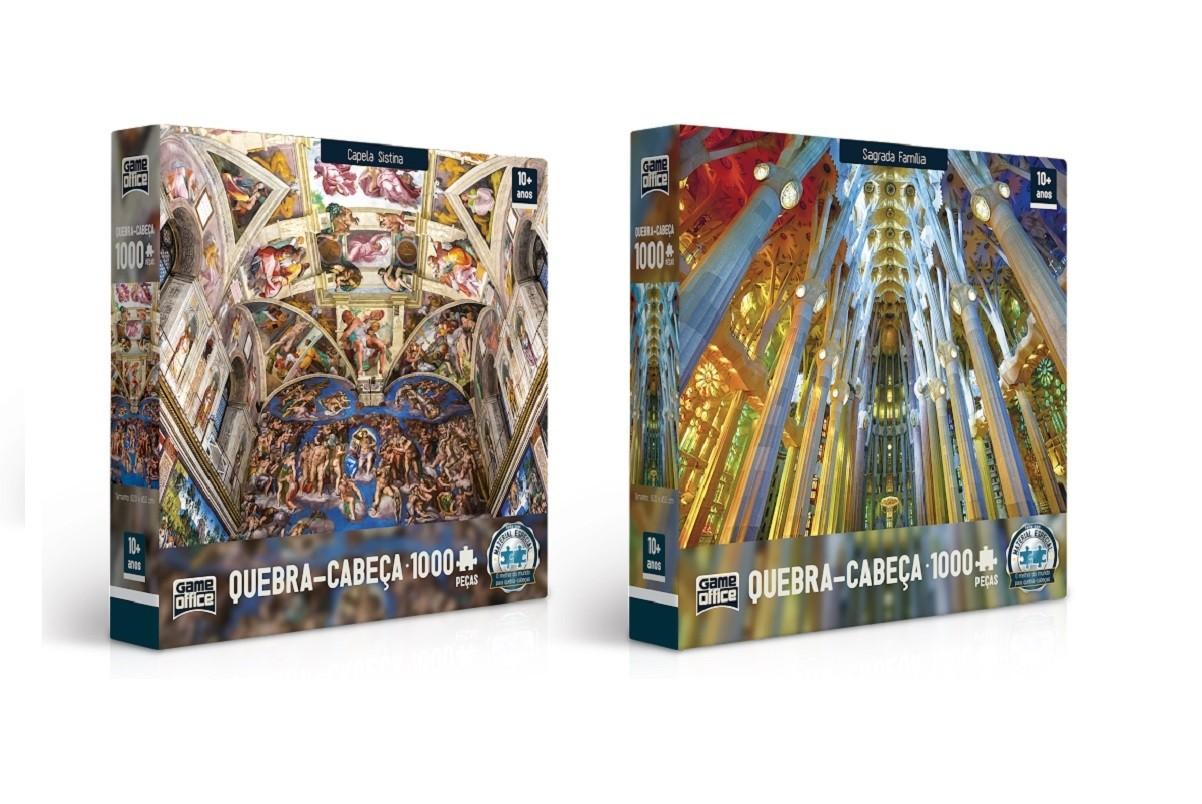 Kit 2 Quebra - Cabeça 1000 pçs - Capela Sistina e Sagrada Família - Toyster