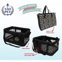 Bolsa de Transporte Safety para Cães e Gatos Preta-São Pet